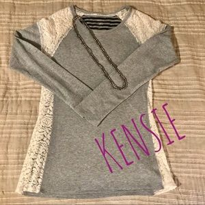 Kensie Performance waffle weave & lace top L 👍🔥